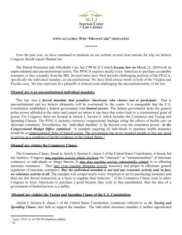 ObamaCare Faces Legislative & Legal Opposition