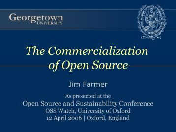 The Commercialization of Open Source Software - OSS Watch
