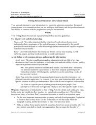 Writing Personal Statements for Graduate School - University of ...