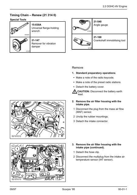 Timing Chain – Renew (21 314 0) Remove - Ford Scorpio