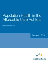 Population Health in the Affordable Care Act Era - AcademyHealth