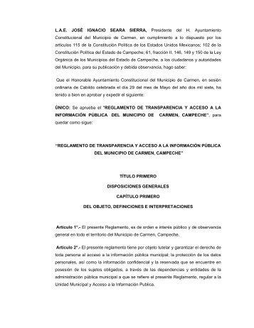 Reglamento de Transparencia y Acceso a la Información Pública ...