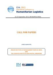 ICHL 2013 International Conference on Humanitarian Logistics