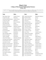 Dean's List - College of Physical and Mathematical Sciences