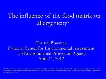 Matrix effects on allergenicity