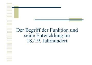 Der Begriff der Funktion und seine Entwicklung im 18./19. Jahrhundert