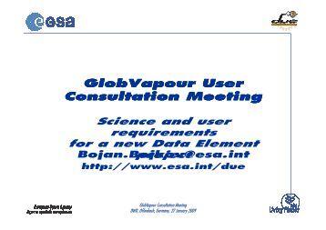 Background, Overview, Framework - Data User Element - ESA