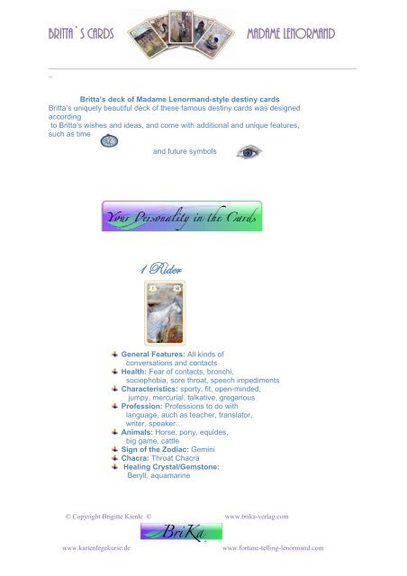 Meaning the cards for Advance - Fortune-telling-lenormand com