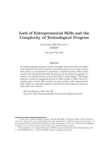 Low Returns in R&D Due to the Lack of Entrepreneurial Skills - Cemfi