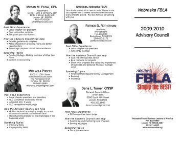 State Advisory Council member - Nebraska FBLA