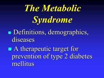 Metabolic Syndrome - NIDDK Archives
