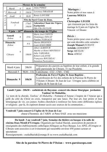 .Mariages : Décès : Site de la paroisse St Pierre de l'Océan : www ...