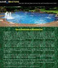 Leak Detection and Repair in Swimming Pool