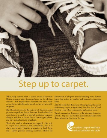 Step up to carpet. - Canadian Carpet Institute