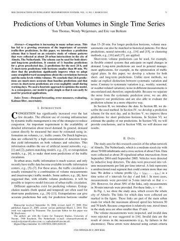 Predictions of Urban Volumes in Single Time Series - IEEE Xplore