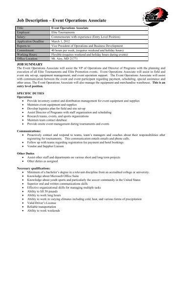 operations associate job description