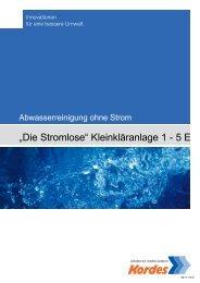 """""""Die Stromlose"""" Kleinkläranlage 1 - 5 E - Kordes"""