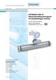 Technisches Datenblatt OPTIMASS 7000 CT Masse - Krohne