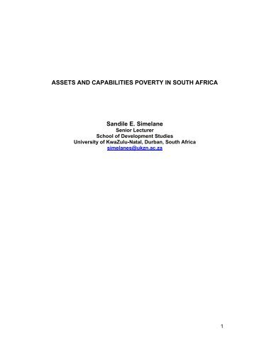 Assets and Capabilities Poverty in South Africa. - Population Studies ...