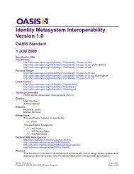 OASIS Specification Identity Metasystem Interoperability Version 1.0