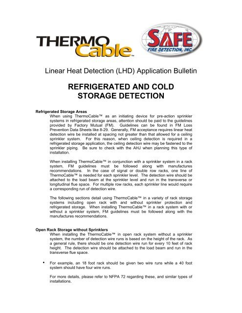Freezer and Cold Storage Application pdf - Safe Fire Detection Inc