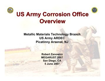 U.S. Army Corrosion Program Office Overview - NST Center