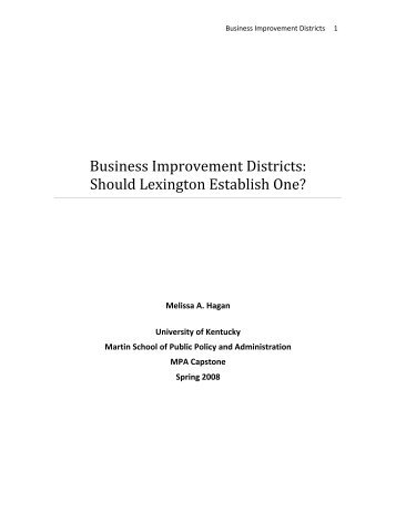 Business Improvement Districts - Martin School of Public Policy ...