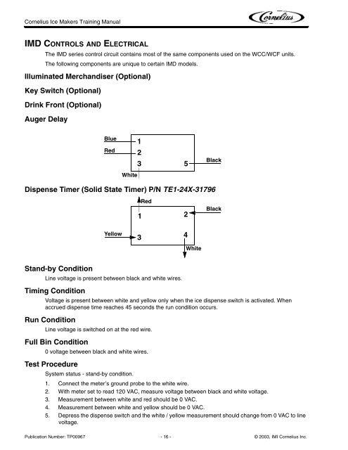 Cornelius Ice Maker Wiring Diagram Cornulius on