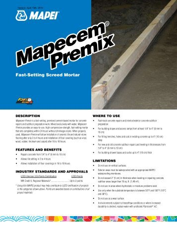 Mapecem Premix Mapecem Premix - Northland Construction Supplies