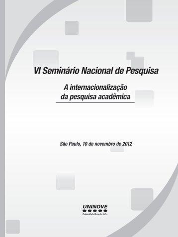 VI Seminário Nacional de Pesquisa - Uninove
