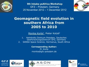 Geomagnetic field evolution in southern Africa from ... - Inkaba.org