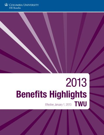 Benefits Highlights - Human Resources - Columbia University