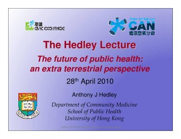 The Hedley Lecture - Civic Exchange