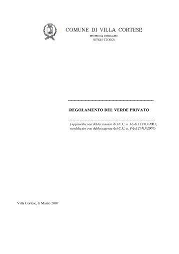 regolamento del verde privato - Comune di Villa Cortese