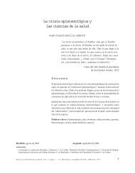 La crisis epistemológica y las ciencias de la salud - Hacia la ...