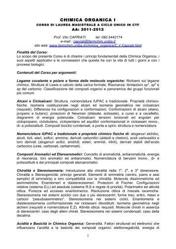 CHIMICA ORGANICA I - Farmacia