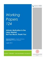Working Papers 124 Intrinsic Motivation in the Labor Market - Aiccon
