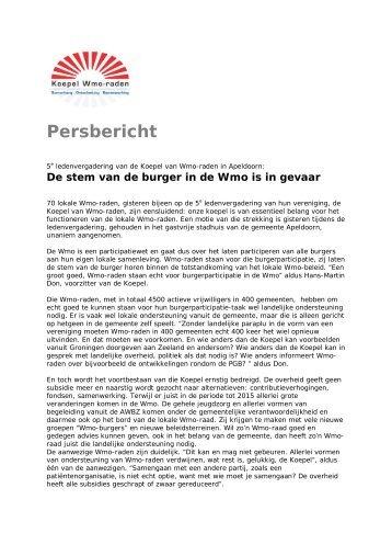Persbericht - Koepel Wmo-raden