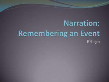 Narration: Remembering an Event - Faulkner University - Home