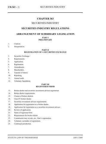 Securities Industry Regulations - The Bahamas Laws On-Line - The ...