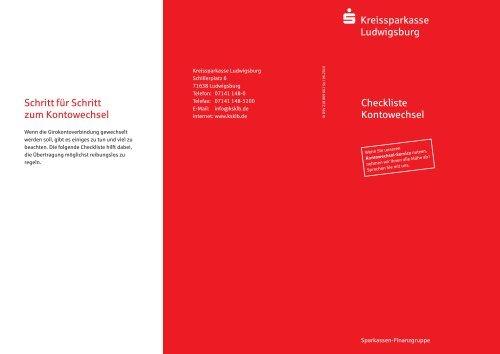 Checkliste Kontowechsel - Kreissparkasse Ludwigsburg