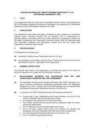 australian industry group training services pty ltd enterprise ... - AiGTS