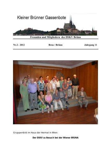 Freunden und Mitgliedern des DSKV Brünn