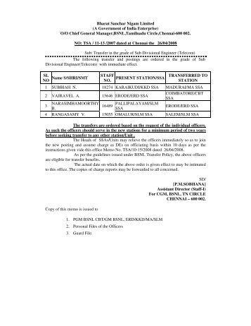 Bharat Sanchar Nigam Limited - aibsnloa tamilnadu circle