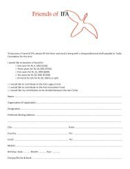 To become a Friend of IFA, please fill this form and send it along ...