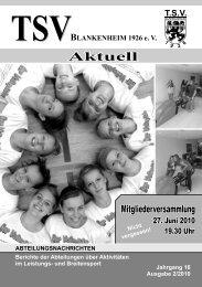 TSV Blankenheim 1926 e. V. – Aktuell 2/2010 - Bürger Blog ...