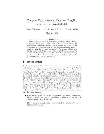 Complex Dynamics and Financial Fragility in an Agent Based Model