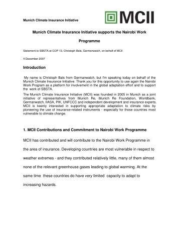 SBSTA statement - Munich Climate-Insurance Initiative