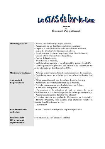 Responsable d'un multi accueil Missions générales ... - Bar-le-Duc