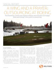 a wing and a prayer: outsourcing at boeing - Thomson Reuters
